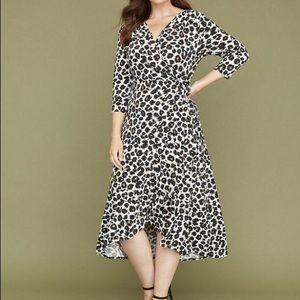Lane Bryant Faux Wrap Dress size 18/20 Leopard